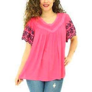 SHORELINE Floral Lace V-neck Tunic Top Pink 4XL